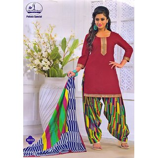 Patiala Special Red Cotton Dress Material