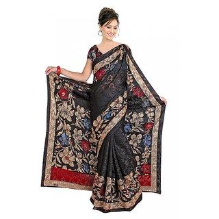 DesiButik Black  Red Jacquard Floral Saree With Blouse