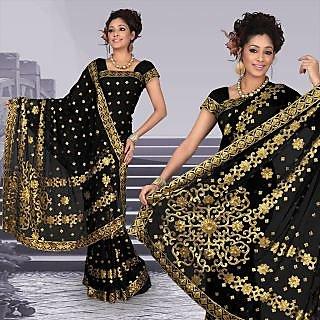 Atrous black faux georgette saree with unstitched blouse (292)