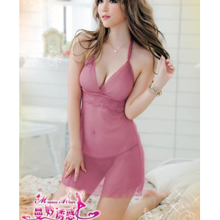 7a71447253 Baby doll Nighty Lingerie Lavender See Thru Sleepwear Dress+G-string ...