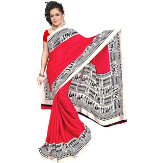DesiButiks  Red Wrinkle Crepe Saree  with Blouse VSM809