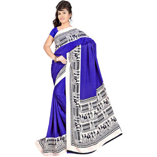 DesiButik's  Blue Wrinkle Crepe Saree  with Blouse