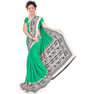 Green  Black Banarasi Printed Saree With Blouse