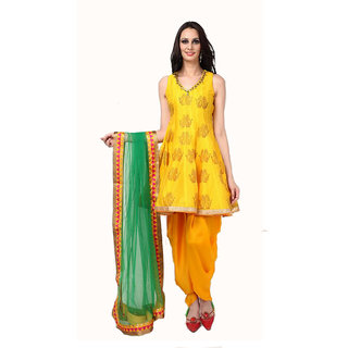 Lotussutra Yellow Block Print Suit And Dhoti Salwar