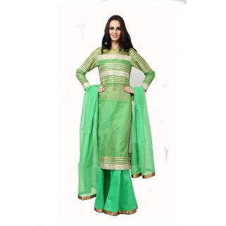 Green net suit and green Sharara