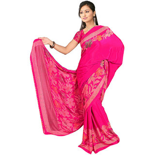 DesiButik's  Pink Wrinkle Crepe Saree  with Blouse VSM515