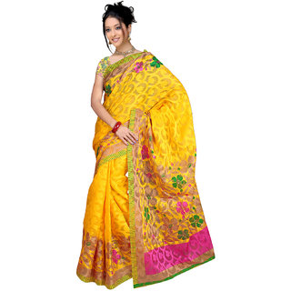 DesiButik Yellow Jacquard Floral Saree With Blouse