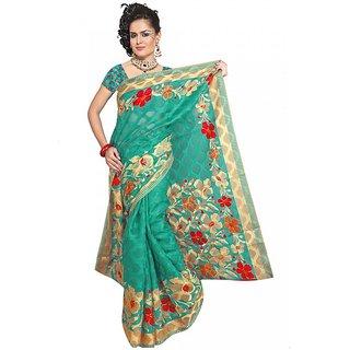 DesiButik Green Jacquard Printed Saree With Blouse