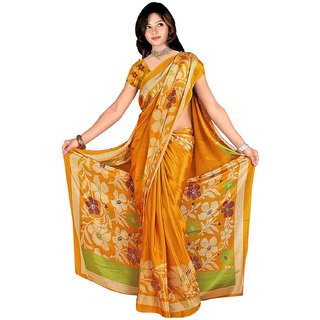 DesiButik Multicolor Banarasi Silk Printed Saree With Blouse