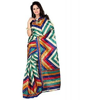 SuratTex Blue Art Silk Printed Saree Without Blouse