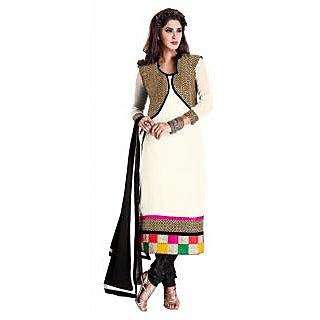 Jiya Presents Multi Embroidered Georgette Chudidar Unstitched Dress Material(Off