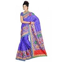 DesiButik's Charming Blue Patola Jacquard  Saree  with Blouse VSM411