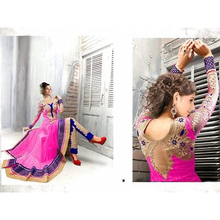 Leelavati Exotic Pink and Blue Anarkali Semi stitched Dress Material