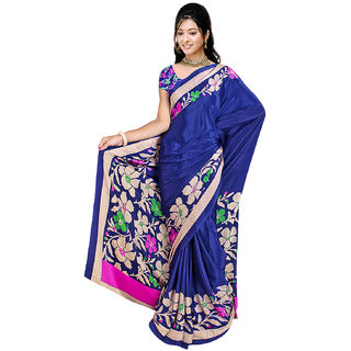 DesiButik's Graceful Blue Crepe  Saree  with Blouse VSM 505