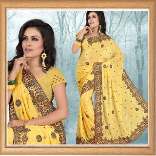 Golden yellow faux shimmer georgette saree with unstitched blouse (332)