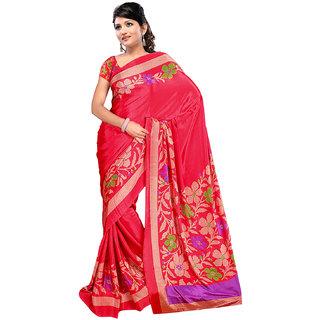 DesiButik's Elegant Red Crepe  Saree  with Blouse VSM 507
