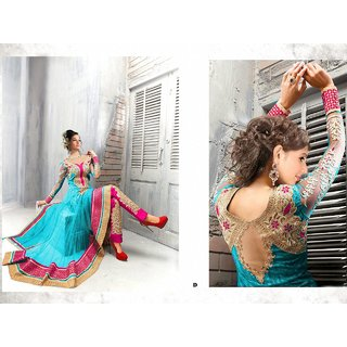 Exotic Skyblue And Magentta Anarkali Semi stitched Suit