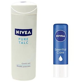Nivea Pure Talc 400Gm And Essential Care Lip Balm Pack Of 2