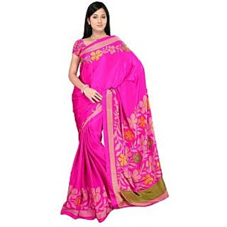 DesiButik's Ravishing Pink Crepe  Saree  with Blouse VSM511