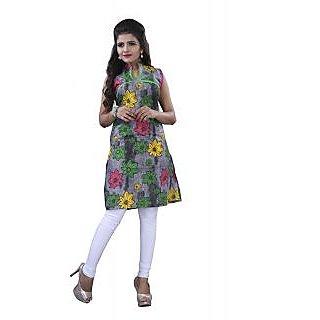 SuratTex Multicolor Printed Cotton Stitched Kurti
