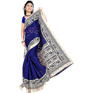 DesiButik's Gorgeous Blue Patola Jacquard  Saree  with Blouse  VSM604