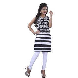 SuratTex Black Printed Cotton Stitched Kurti