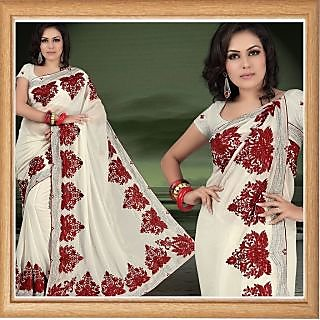 Cream faux shimmer georgette saree with unstitched blouse (342)