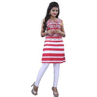 SuratTex Pink Printed Cotton Stitched Kurti