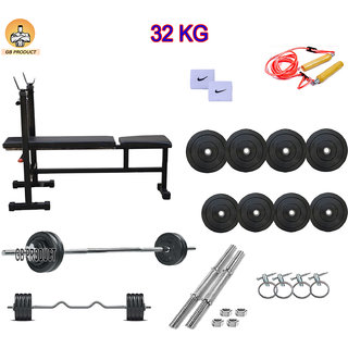 GB PRODUCT 32 KG HOME GYM PACKAGE WITH 3 IN 1 BENCH + 4 ROD + BAND + ROPE + LOCK