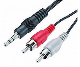 Gold Plated 2RCA Male to 3.5 mm Stereo Cable 1.5 meter Laptop Audio to TV