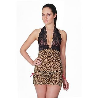 Baby - 91 , Baby Doll Nightwear Dress in Leopard Print.
