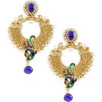 Kriaa Peacock Style Blue Earrings - 1303709