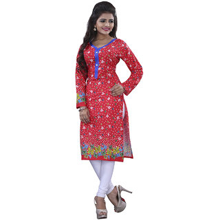 SuratTex Red Printed Cotton Stitched Kurti