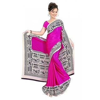 DesiButik's Charming Pink Crepe  Saree  with Blouse VSM 804