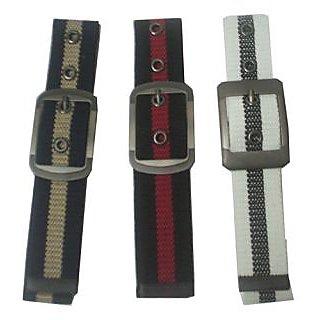 Et Of 3 - Stylish Cotton Canvas Belt For Men Blue, Black, Beige