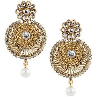 Kriaa Designer Round Shape Pink Earrings - 1303721