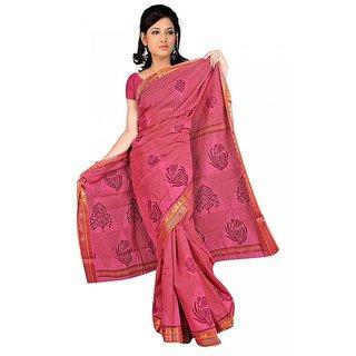 DesiButik's  Pink Chanderi Saree  with Blouse VSM9047