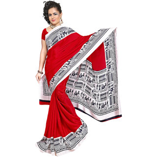 DesiButik's Graceful Red Crepe  Saree  with Blouse