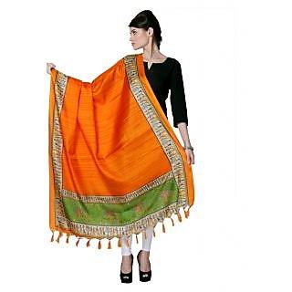 Varanga Orange Designer Bhagalpuri Silk Dupatta KFBG024