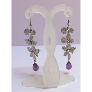 Silver 925 Amethyst Petals Dangle Earring ER-R-70