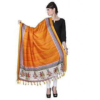 Varanga Orange Designer Bhagalpuri Silk Dupatta KFBG025