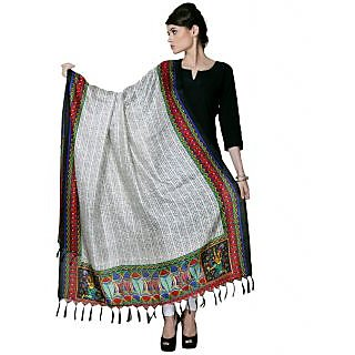 Varanga Gray Designer Bhagalpuri Silk Dupatta KFBG026