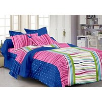 Story@Home 120 TC 100 Cotton Blue 100 Thread Count Double Bedsheet With 2 Pillow Cover-CN1268  (Set of 1)