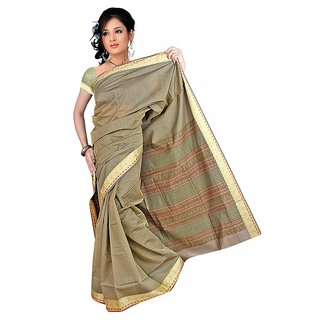DesiButik's  Green Chanderi Saree  with Blouse VSM9017