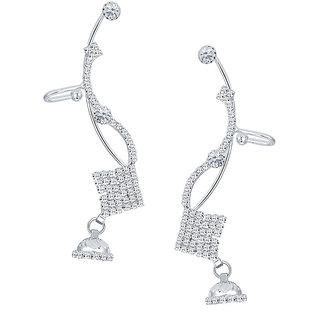 Sikka Jewels Creative Rhodium Plated Australian Diamond Earcuff