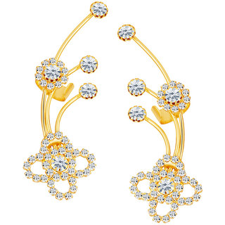 Sikka Jewels Elegant Gold Plated Australian Diamond Earcuff