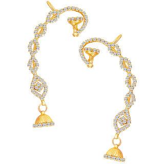Sikka Jewels Sleek Gold Plated Australian Diamond Earcuff