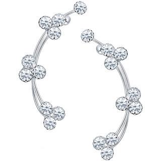 Sikka Jewels Luxurious Rhodium Plated Australian Diamond Earcuff