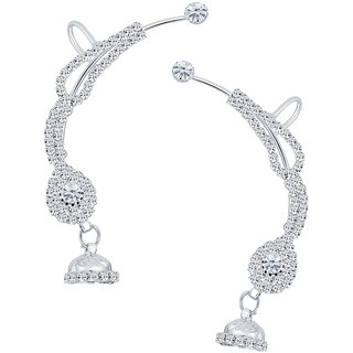 Sikka Jewels Trendy Rhodium Plated Australian Diamond Earcuff