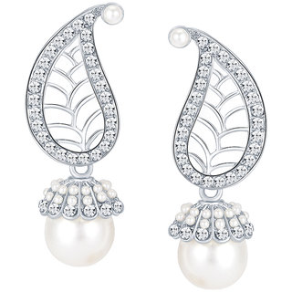 Sikka Jewels Marquise Rhodium Plated Australian Diamond Earring